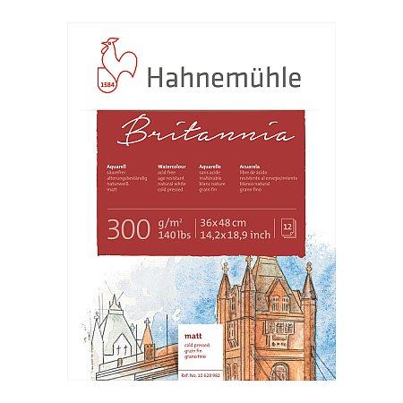 Hahnemuhle Britannia, block 300g,12 ark, matt (grain fin) - 36x48cm